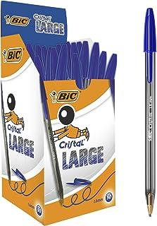 BIC Cristal Grote Balpennen Brede Punt (1,6 mm) - Blauw, Doos van 50 Stuks