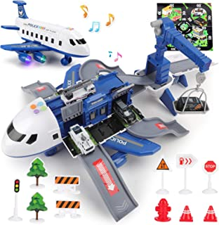Airplane Toy with Sound and Light,Transport Cargo Airplane Playset Includes Car Toys and Large Play Mat,Kids Plane with Ed...