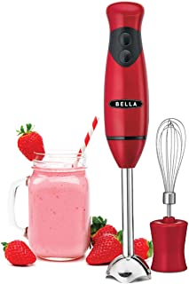 BELLA Immersion Hand Blender with Whisk Attachment, Quickly Mixes Sauces, Purees Soups, Smoothies & Dips, BPA-Free, Easy T...