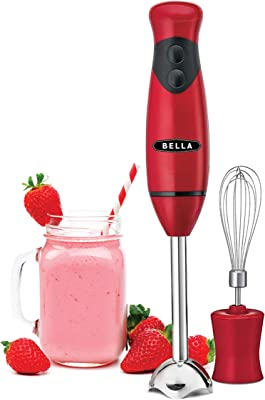 BELLA Immersion Hand Blender with Whisk Attachment, Quickly Mixes Sauces, Purees Soups, Smoothies & Dips, BPA-Free, Easy To Clean, Stainless Steel/Red