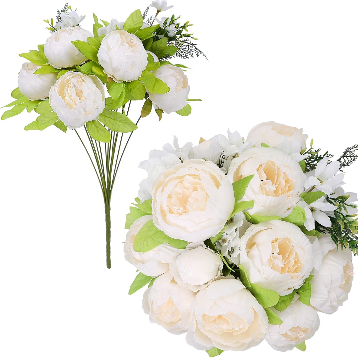 JUSTOYOU2 Bunches Artificial White Flowers 12 Heads Peonies Virginia Beach Mall Limited time for free shipping