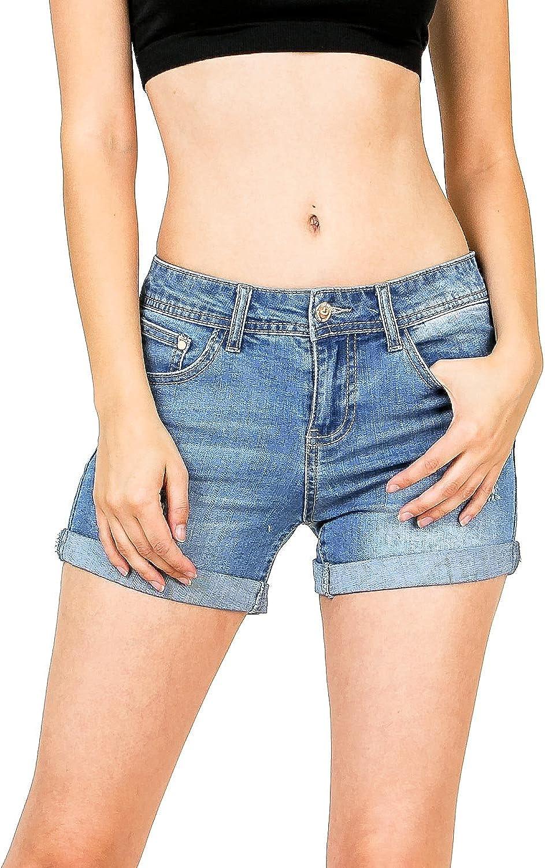 C'est Toi Women's Juniors Mid Waist Cuff Hem Denim Shorts