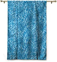 Andrea Sam Lifable Curtain Dahlia Flower,Blue Artistic Pattern,48