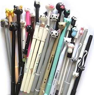 DzdzCrafts 12-Packs Cats Rollerball Gel Pens Black Ink Pens 0.35mm 0.38mm 0.5mm Bulk for Kids Students