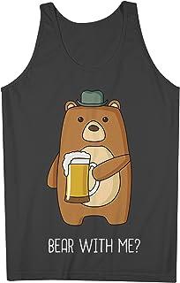 Bear With Me おかしいです 皮肉な Beer Party 男性用 Tank Top Sleeveless Shirt