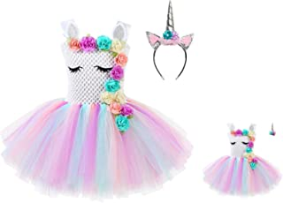 Jxstar Matching Girls &Dolls Unicorn Dresses Princess Pageant Party Costume