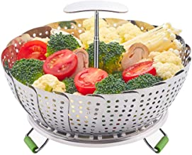 LHS Food Steamer Basket, Stainless Steel Kitchen Steamer Collapsible Steamer, Insert for Veggie Fish Seafood Cooking, Expa...