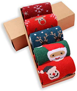 LIKERAINY Mujeres Dama Térmicos Calcetines de Lana Navidad Tamaño Estándar