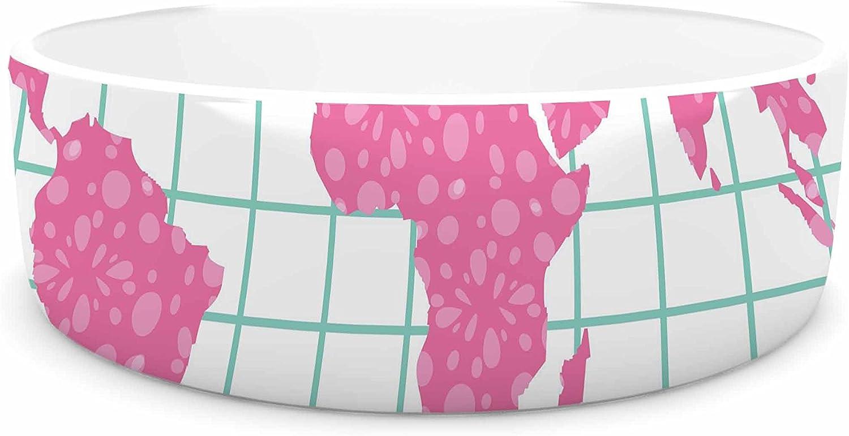 KESS InHouse Famenxt Grid Map Mint Pink  Green Digital Pet Bowl, 7