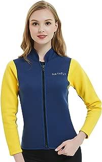 OUTYFUN Women's Wetsuit Top,2mm Neoprene Wetsuits Jacket Long Sleeve Front Zip Wet Suit