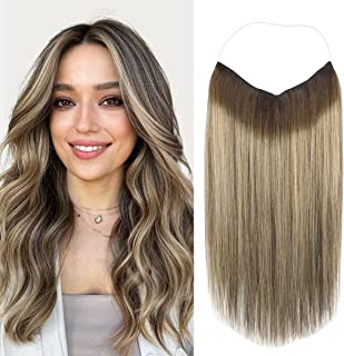 Marat Halo Hair Extensions, Balayage Chocolate Brown to Honey Blonde Halo Hair Extensions Human Hair, 20 inch 110g Straigh...