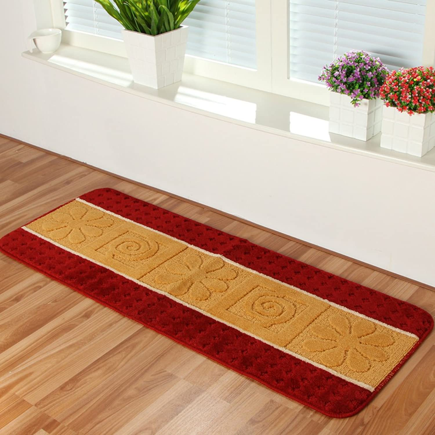 Long striped plush kitchen mat door mat Long kitchen mats The door Water-absorption anti-skid door mat Bed bay window cushion-D 45x180cm(18x71inch)