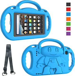 LTROP Kindle Fire 7 Tablet Case, Fire 7 2019/2017 Case for Kids - Light Weight Handle Stand Shoulder Strap Child-Proof Case for Fire 7-inch Display Tablet (9th Generation & 7th Gen) - Blue