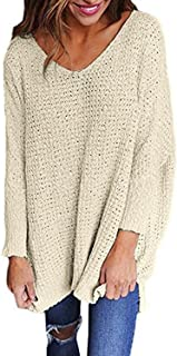 Womens Oversized Sweaters Casual V Neck Long Sleeve Loose Knit Pullover Tops