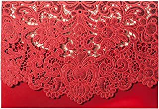 WISHMADE 1 Chinese Style Red Laser Cut Wedding Invitation with Lace Design, Printable Blank Engagement Invites with Envelope, for Bridal Shower Wedding Anniversary CW057