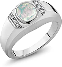 Gem Stone King 1.11 Ct Oval Cabochon White Simulated Opal White Created Sapphire 925 Sterling Silver Men's Ring