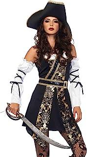Leg Avenue Women's Black Sea Sexy Buccaneer Pirate Costume, Gold