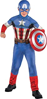 Costumes USA Captain America Costume Classic for Boys, Size Medium, Includes a Red, White, and Blue Jumpsuit and a Hood