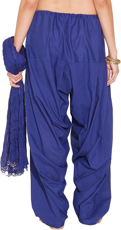 S & S Ladies Dark bluee Cotton Regular Fit With Dupatta Dupatta Patiala Set