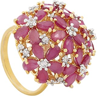 PRITA Gold Plated American Diamond Band Ring for Women(Gold & Red)