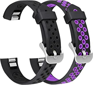 SKYLET Compatible with Fitbit Ace/Fitbit Alta HR Bands, 2 Pack Soft Sport Wristbands Silicone Breathable Replacement with Secure Metal Clasp Fitness Strap Men Women Kids Small Large (No Tracker)