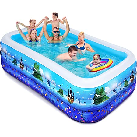 iBaseToy Swimming Pools for Kids - 240 x 140 x 56cm Large Kiddie Swimming pool for Gardens Games Toys, Baby Pools Family Pool for Adults Toddlers, Inflatable Paddling pools for Backyard Indoor Outdoor