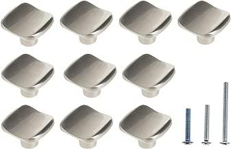 10 Pack Brushed Nickel Square Cabinet Knobs,Vinet U Shape Pulls Hardware for Kitchen and Bathroom Drawer