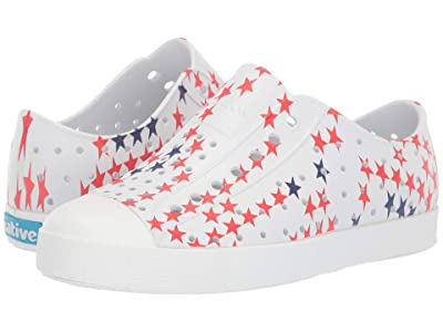 Native Kids Shoes Jefferson Stars and Stripes Print (Little Kid) (Shell White/Shell White/Little Star) Kids Shoes