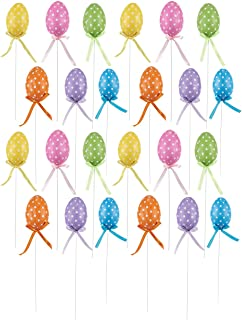 Juvale 24 Pack Polka Dot Easter Egg Flower Picks for Floral Arrangements, and Decorations, 1.5 x 10 x 1.5 Inches
