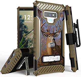 Galaxy Note 9 Case with Clip, Big Buck Whitetail Deer Outdoor Hunter Camo Rugged Cover and Belt Hip Holster [Metal Kicksta...