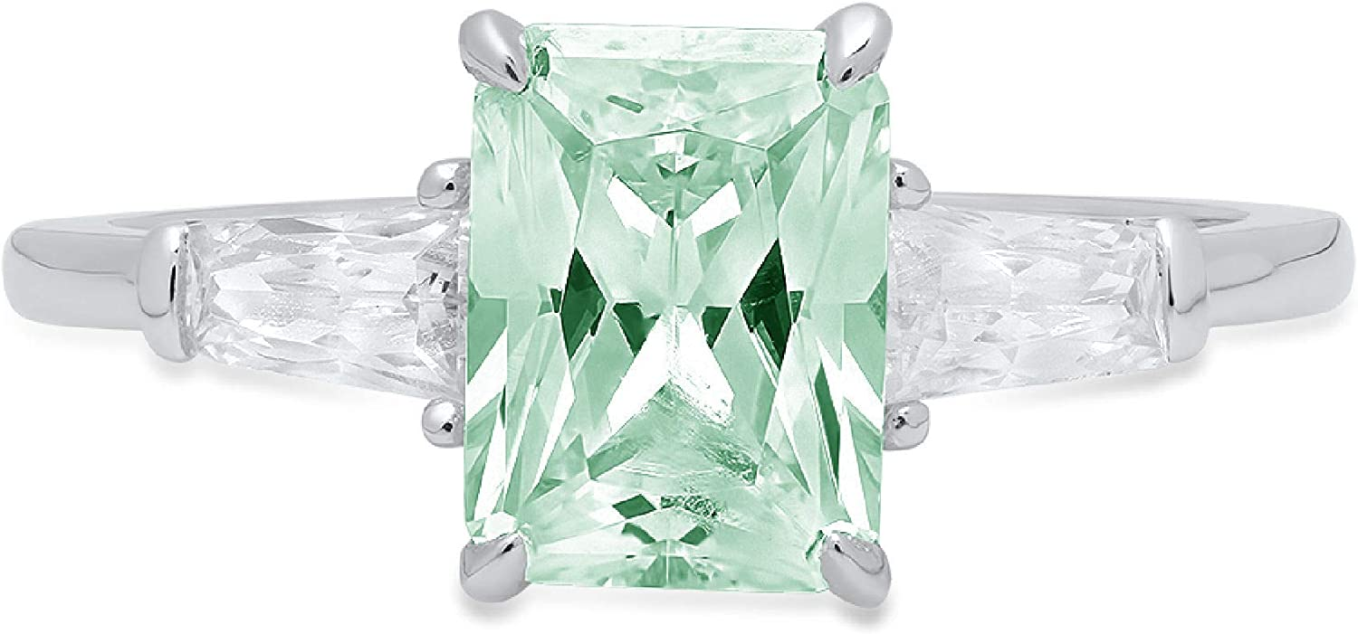 2.0 ct Emerald Baguette cut 3 stone Solitaire with Accent VVS1 Blue Moissanite Ideal Engagement Promise Statement Anniversary Bridal Wedding Designer Ring 18K White Gold