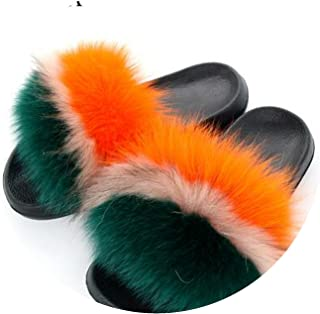 Fur Slippers Flat Non-Slip Fox Hair Slippers Slippers Mixed Colors Slippers