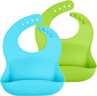 WeeSprout Waterproof Silicone Baby Bibs - Set of 2, Easy to Clean, Soft & Comfortable, for Boys & Girls, Wide Pocket Catch...