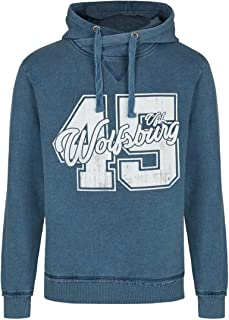 VfL Wolfsburg Offizieller Kapuzenpulli/Pulli/Hoodie 45 Brust Print im Used Look blau meliert Größe S - 4XL