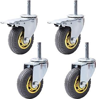 STEM M14X60 4 stuks meubelwielen, zwenkwielen, robuuste rubberen wielen, beweegbare wielen, 360° transportwielen, draaibaa...