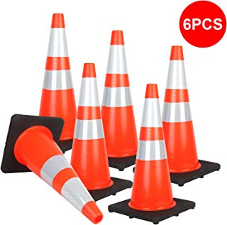"Reliancer 6PCS 28"" Traffic Cones PVC Safety Road Parking Cones with Black Weighted Base w/6""&4"" Reflective Collars Fluorescent Orange Hazard Cones Construction Cones for Traffic or Home Improvement"
