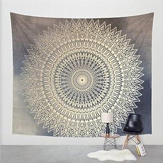 Goldbeing indischer Wandteppich Wandbehang Mandala Tuch Wandtuch Gobelin Tapestry Goa Indien Hippie-/ Boho Stil als Dekotuch /Tagesdecke indisch orientalisch psychedelic 203 x 153cm, Grau Kreis