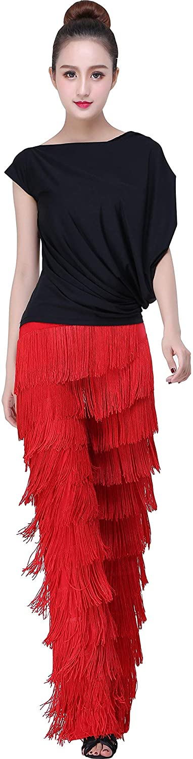 Fringed Tassel Ballroom Latin Tango Salsa Dance Pants Performance Pants Red Black