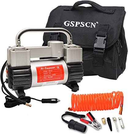 GSPSCN Silver Tire Inflator Heavy Duty Double Cylinders with Portable Bag 12V Metal Air Compressor Pump