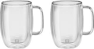 Zwilling Sorrento Çift Camlı Kulplu 2'Li Latte Macchiato Bardak Seti, 450 Ml,Cam,Gümüş_Rengi