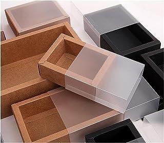 Gift Box 10pcs Kraft Paper Packing Box with Transparent PVC Window Black Delicate Drawer Display Gift Box Wedding Cookie B...