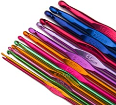 Luxbon 14 Sizes Multi-Coloured Aluminum 2mm-10mm Handle Crochet Hooks Knitting Knit..
