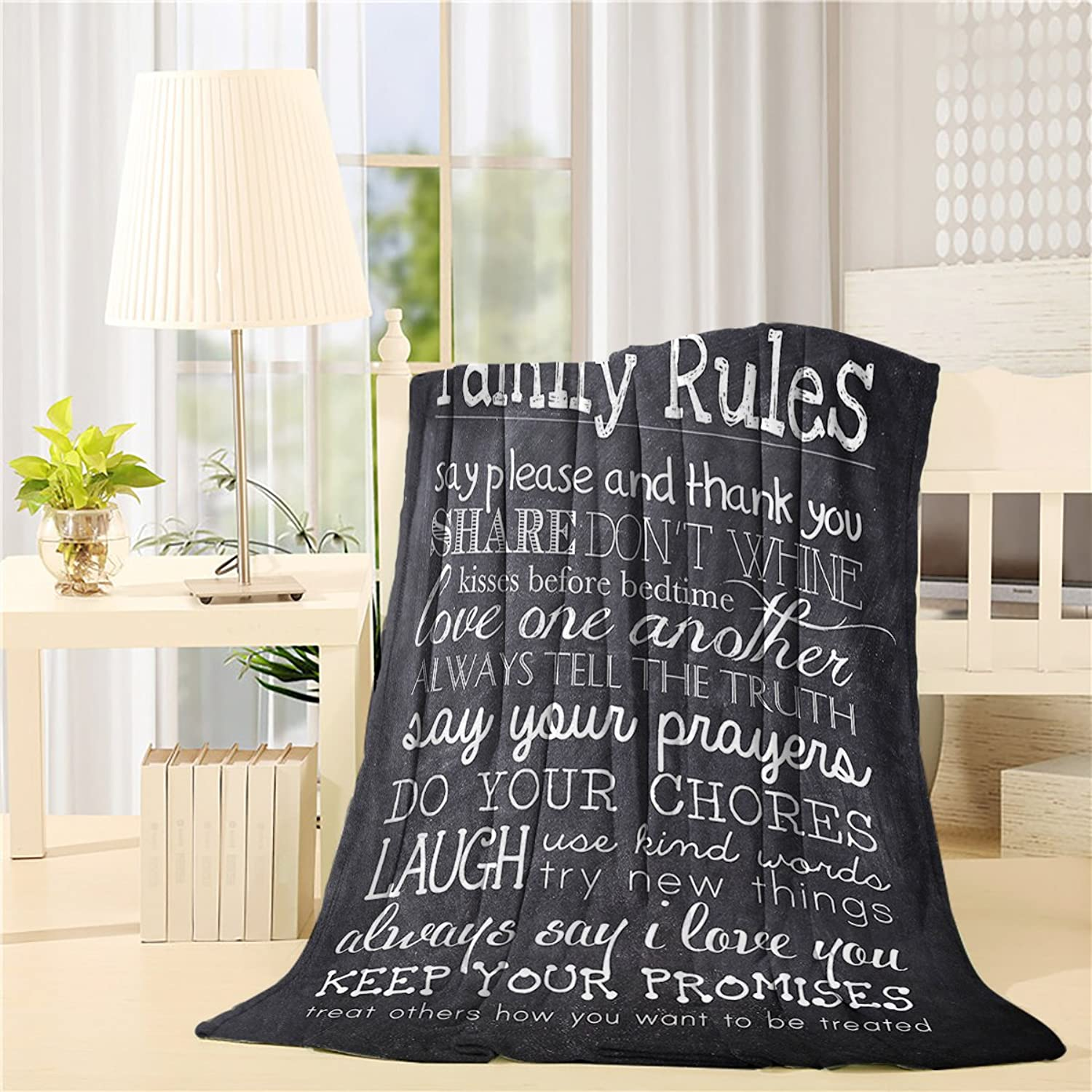 YOUNGKIDS Luxury Fleece Throw Blackets on Sofa, Family Rules Quotes Soft Plush Flannel Blanket Couch Bed Chair, 40x50inch
