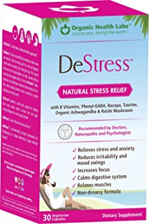 DeStress, Natural Anxiety and Stress Relief - 30 Veggie Capsules