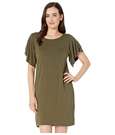 Lucky Brand Ruffle Sleeve Dress (Ivy Green) Women