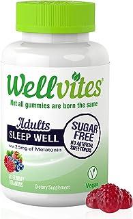 Wellvites Sleep Well Sugar Free Melatonin for Adults - 2.5mg Per Gummy   Nighttime Sleep Aid   Natural Berry Flavor   Vega...