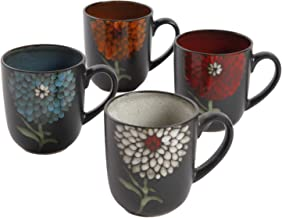 Gibson Home Gardenia Cafe 4 Pack 16oz Mugs, Assorted Colors
