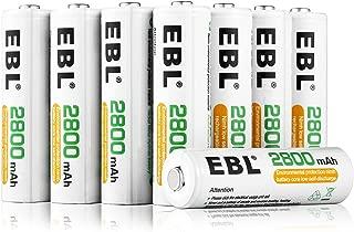 EBL 単3形充電池 充電式ニッケル水素電池2800mAh 8本入り ケース2個付き 約1200回使用可能 単三充電池