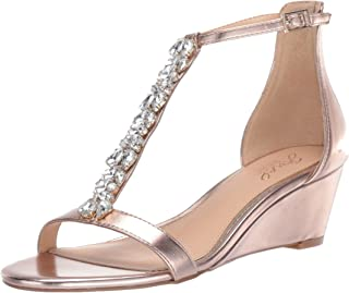 Jewel Badgley Mischka Women's DARRELL Sandal, rose gold/metallic, 7 M US