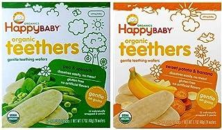 Happy Baby Organic Teethers Gentle Teething Wafers 2 Flavor Sampler Bundle: (1) Sweet Potato & Banana Teething Wafers, and...